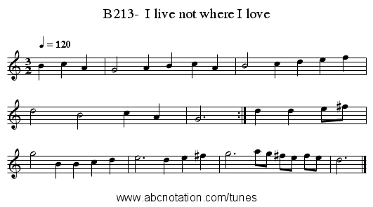 B213-  I live not where I love - staff notation