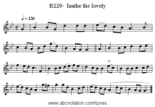 B229-  Ianthe the lovely - staff notation