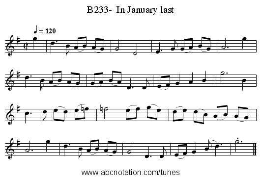 B233-  In January last - staff notation