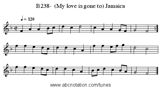 B238-  (My love is gone to) Jamaica - staff notation