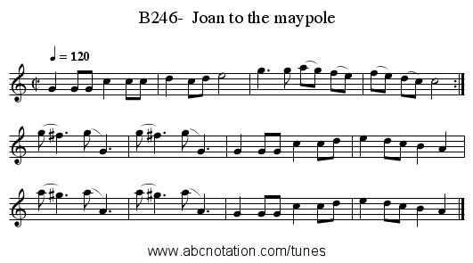 B246-  Joan to the maypole - staff notation