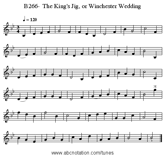 B266-  The King's Jig, or Winchester Wedding - staff notation