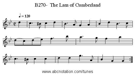 B270-  The Lass of Cumberland - staff notation
