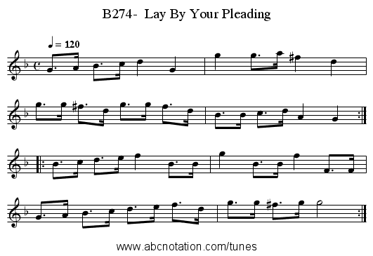 B274-  Lay By Your Pleading - staff notation
