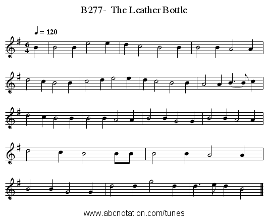 B277-  The Leather Bottle - staff notation