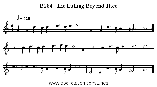 B284-  Lie Lulling Beyond Thee - staff notation