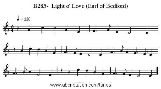 B285-  Light o' Love (Earl of Bedford) - staff notation