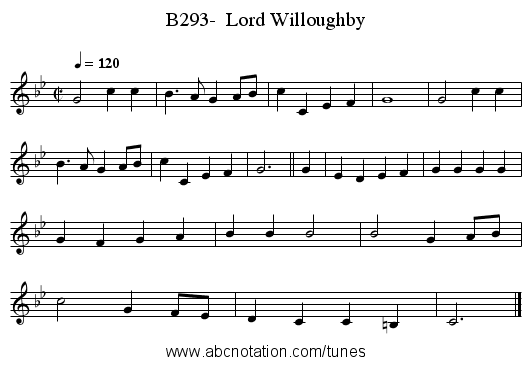 B293-  Lord Willoughby - staff notation