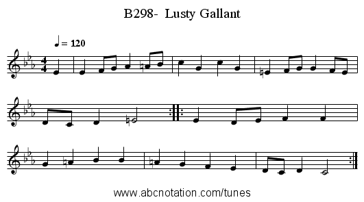 B298-  Lusty Gallant - staff notation