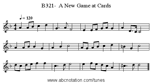 B321-  A New Game at Cards - staff notation