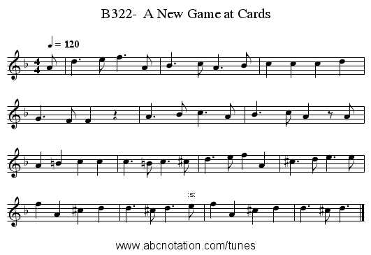 B322-  A New Game at Cards - staff notation