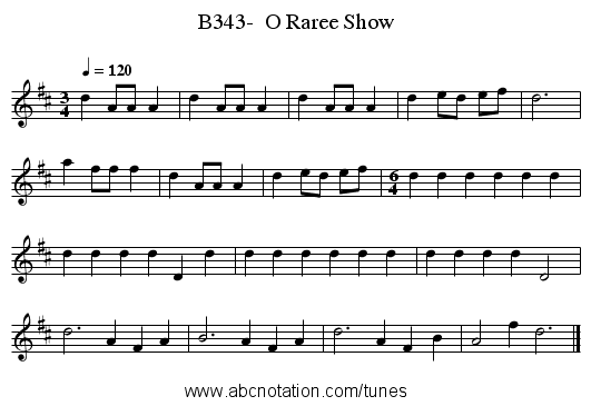 B343-  O Raree Show - staff notation