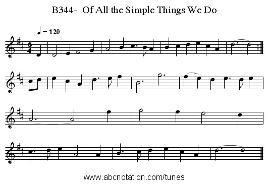B344-  Of All the Simple Things We Do - staff notation