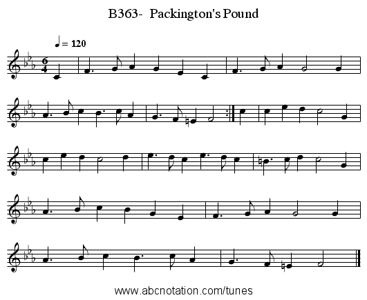 B363-  Packington's Pound - staff notation
