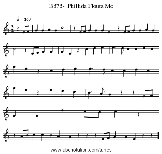 B373-  Phillida Flouts Me - staff notation