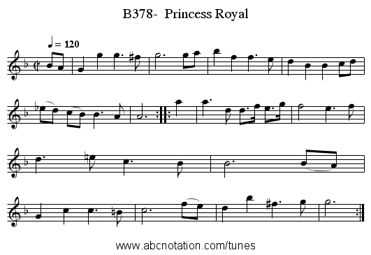 B378-  Princess Royal - staff notation