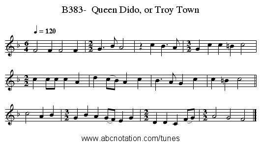 B383-  Queen Dido, or Troy Town - staff notation