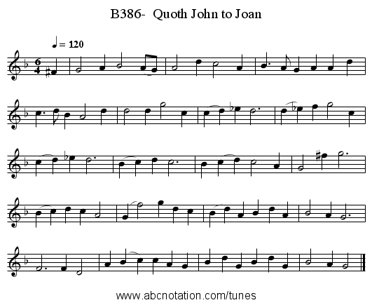 B386-  Quoth John to Joan - staff notation