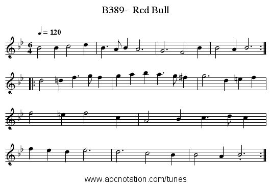 B389-  Red Bull - staff notation