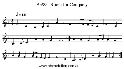 B399-  Room for Company - staff notation