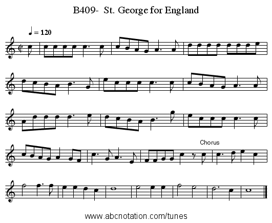B409-  St. George for England - staff notation