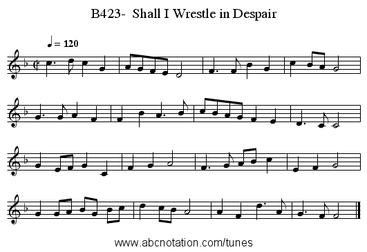 B423-  Shall I Wrestle in Despair - staff notation