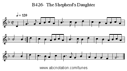 B426-  The Shepherd's Daughter - staff notation