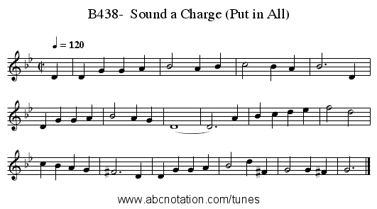 B438-  Sound a Charge (Put in All) - staff notation