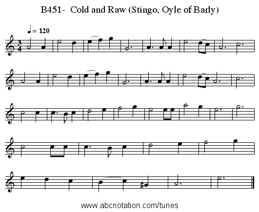 B451-  Cold and Raw (Stingo, Oyle of Barly) - staff notation