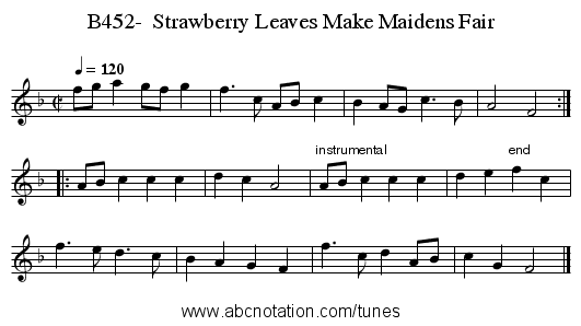B452-  Strawberry Leaves Make Maidens Fair - staff notation