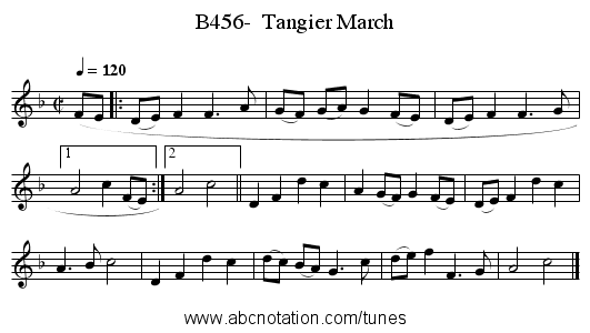 B456-  Tangier March - staff notation