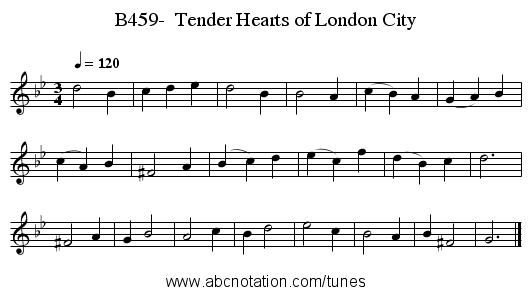 B459-  Tender Hearts of London City - staff notation