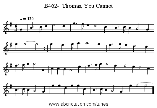 B462-  Thomas, You Cannot - staff notation