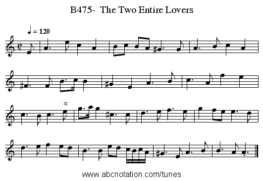 B475-  The Two Entire Lovers - staff notation
