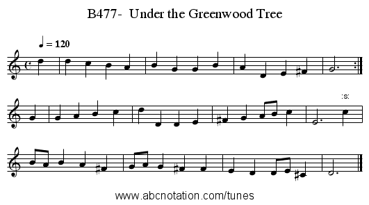 B477-  Under the Greenwood Tree - staff notation