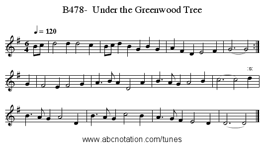 B478-  Under the Greenwood Tree - staff notation