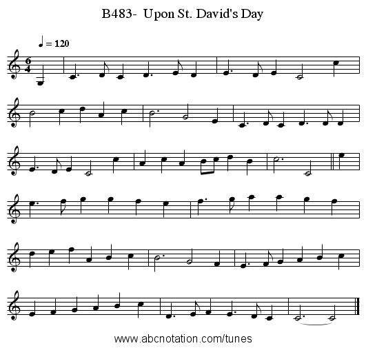 B483-  Upon St. David's Day - staff notation