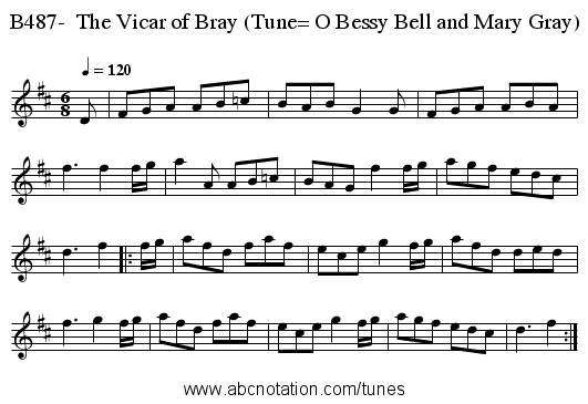 B487-  The Vicar of Bray (Tune= O Bessy Bell and Mary Gray) - staff notation
