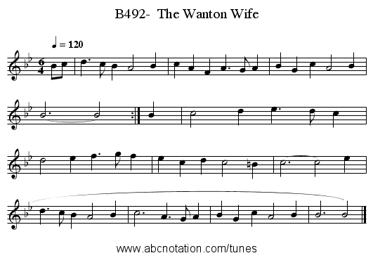 B492-  The Wanton Wife - staff notation
