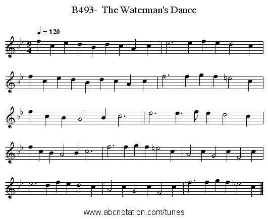 B493-  The Waterman's Dance - staff notation