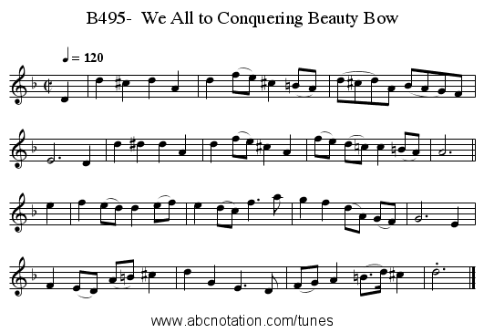B495-  We All to Conquering Beauty Bow - staff notation