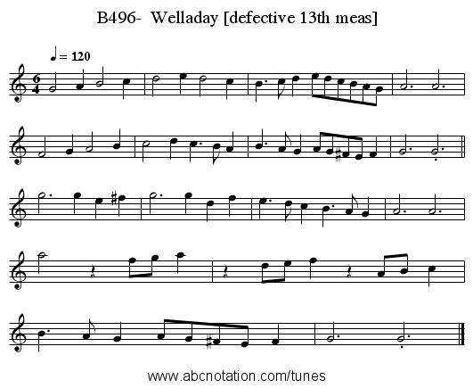 B496-  Welladay [defective 13th meas] - staff notation