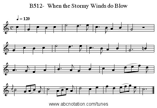 B512-  When the Stormy Winds do Blow - staff notation