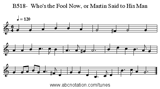 B518-  Who's the Fool Now, or Martin Said to His Man - staff notation
