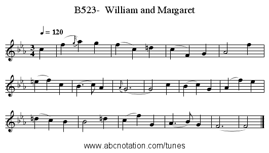 B523-  William and Margaret - staff notation
