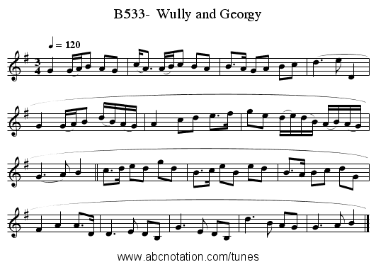 B533-  Wully and Georgy - staff notation