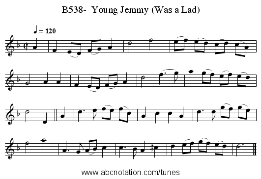 B538-  Young Jemmy (Was a Lad) - staff notation