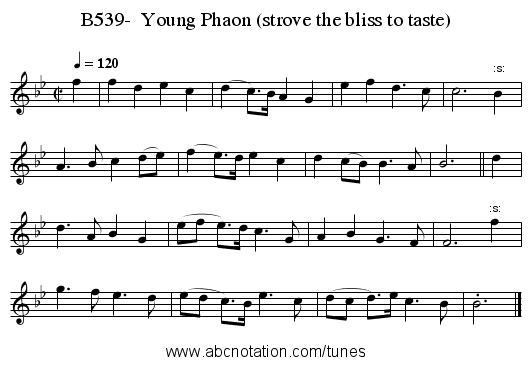 B539-  Young Phaon (strove the bliss to taste) - staff notation