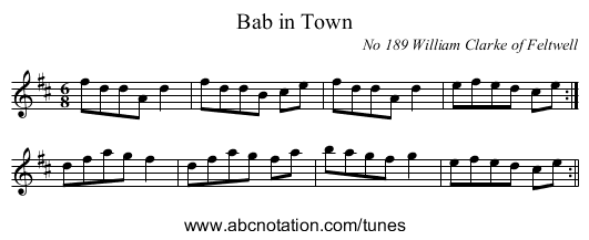 Bab in Town - staff notation