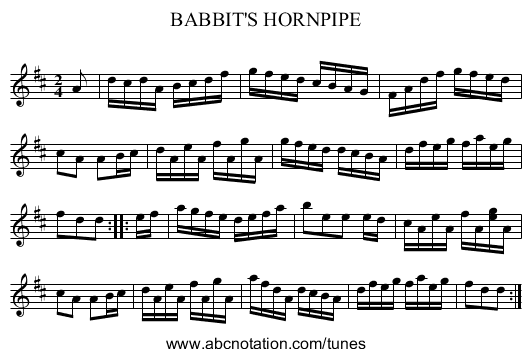 BABBIT'S HORNPIPE - staff notation